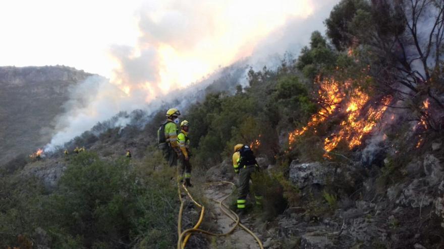 Las brigadas forestales trabajando en el incendio de Llutxent