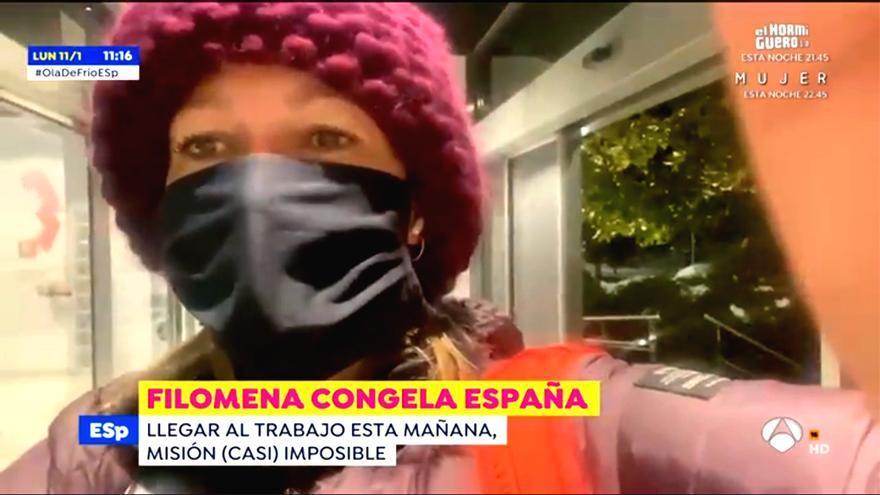 Susanna Griso, llegando a 'Espejo Público' a pesar del temporal de nieve
