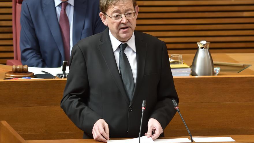El president de la Generalitat, Ximo Puig, durante la sesión de control.