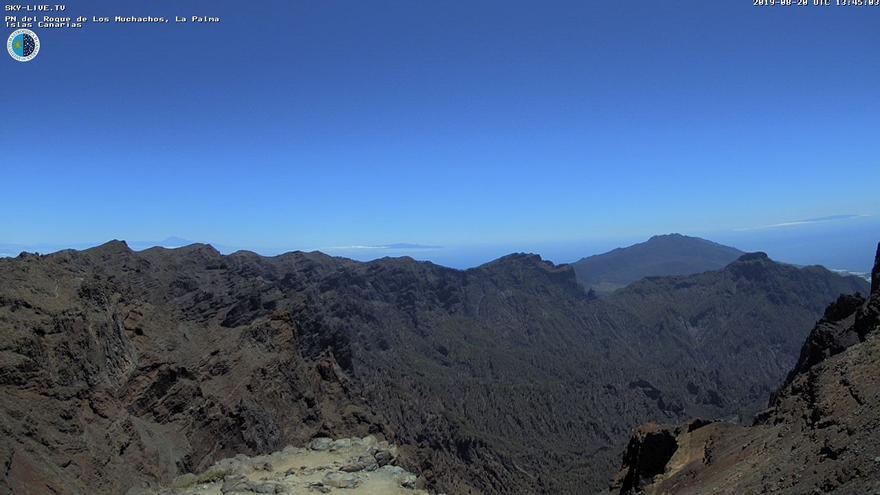 Imagen de las cumbres de La Palma captada este martes de la webcam de Sky Live TV del IAC en el Roque de Los Muchachos (Garafía).