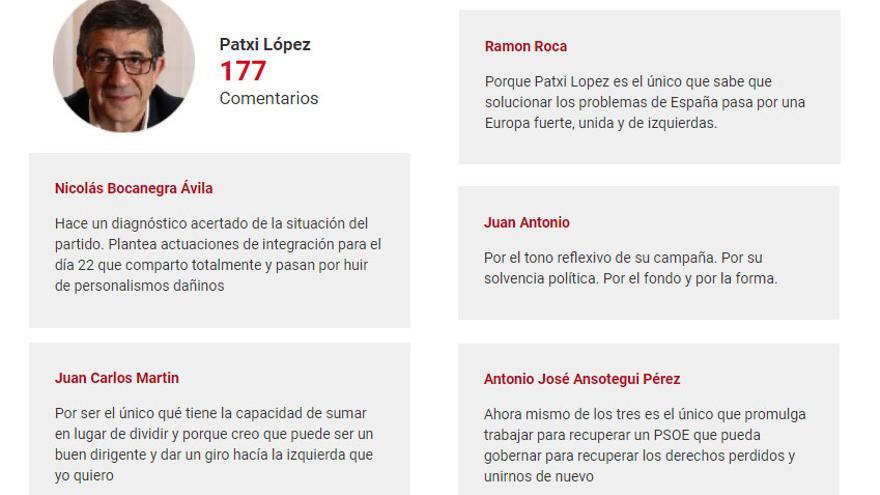 Comentarios de apoyo de militantes socialistas a Patxi López.