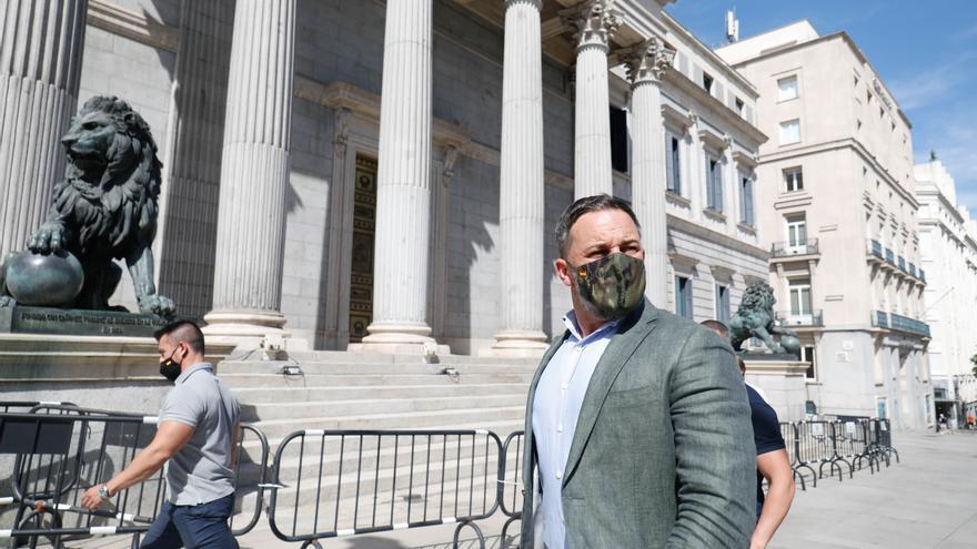 El presidente de Vox, Santiago Abascal, frente al Congreso de los Diputados