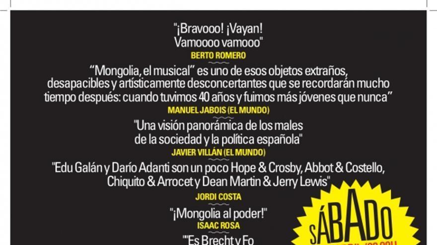 Cartel de 'Mongolia, el musical' en Gijón