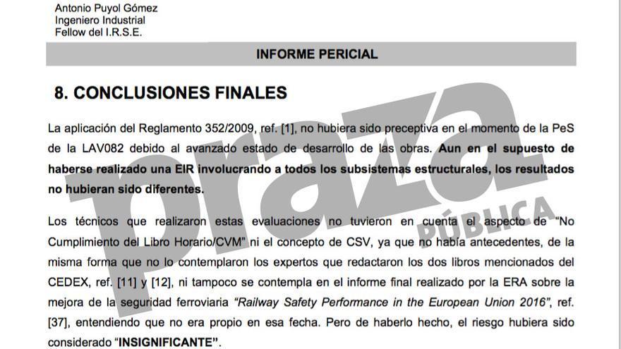 Peritaje encargado por Adif a un ingeniero que dice que non era preceptiva la Evaluación Integral de Riesgos (EIR) del AVE Ourense-Santiago