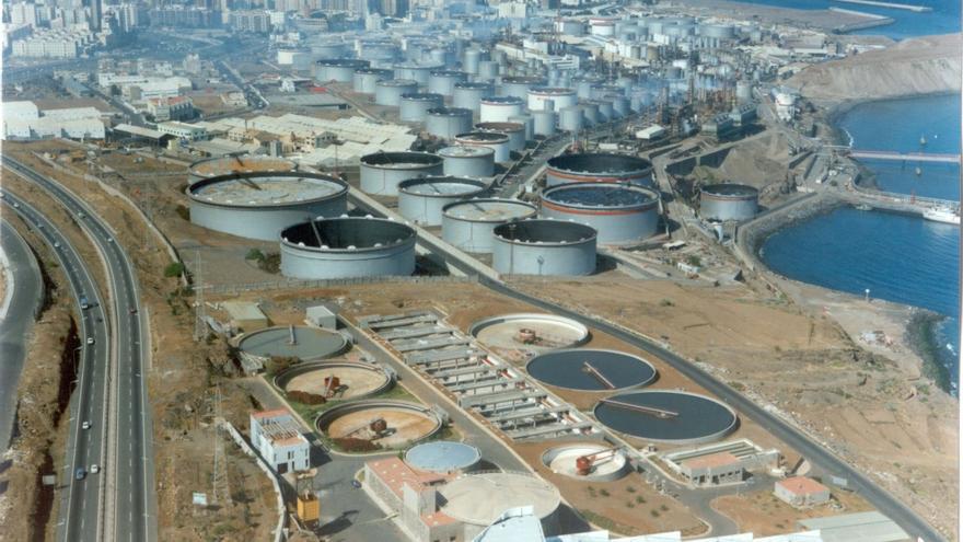 Imagen aérea de la depuradora de aguas residuales de la capital tinerfeña