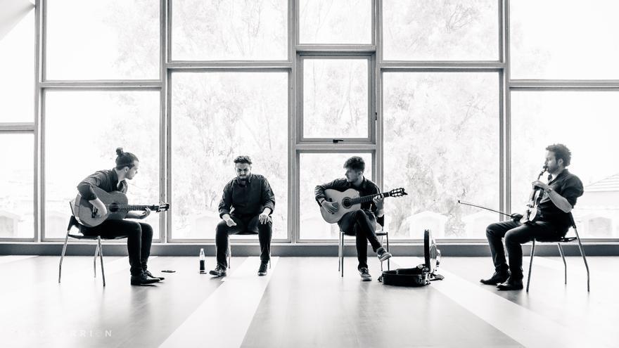 Joaquín López (Quini), Nico Pelegrín, Pablo Barrionuevo y David Galván durante un ensayo
