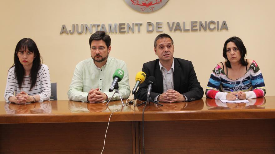 Un momento de la rueda de prensa de EU sobre el 'DipuGate' y sus relaciones con el Ayuntamiento de Valencia