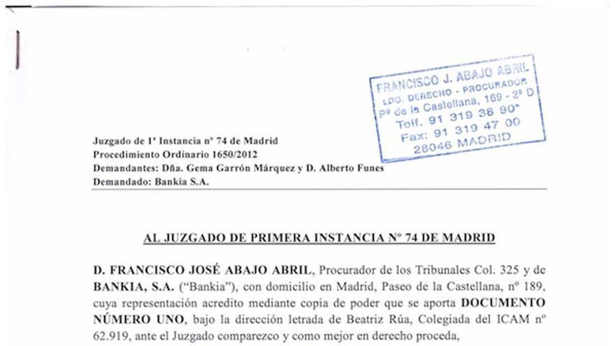 Contestación de Bankia ante el juez a la demanda del preferentista Alberto Funes donde consta, con los formalismos habituales, que la representante legal del banco es Beatriz Rua, abogada de KPMG