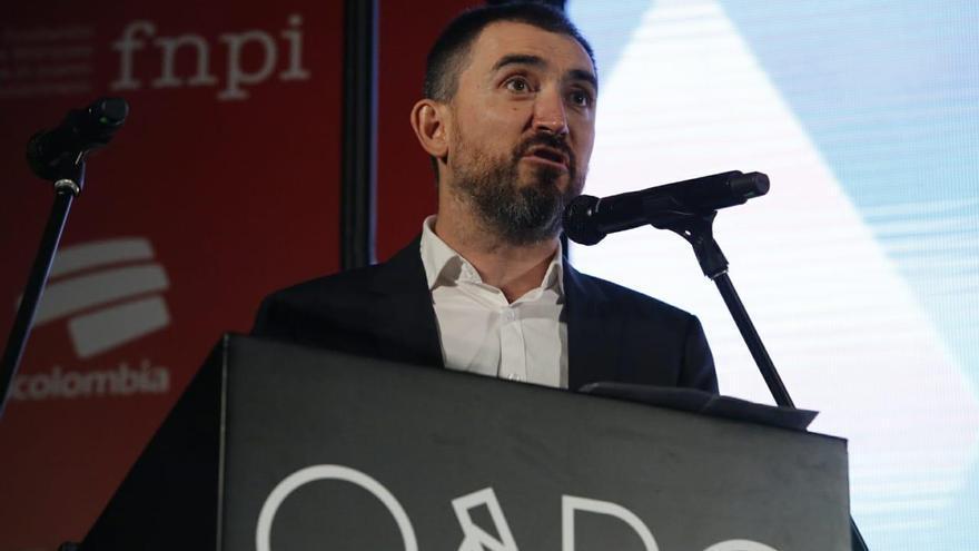 Ignacio Escolar, durante su discurso tras recibir el Premio Gabriel García Márquez 2018 a la Excelencia
