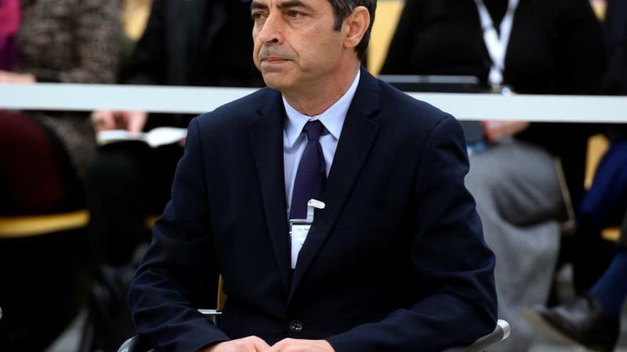El mayor de los Mossos d'Esquadra Josep Lluís Trapero, ayer en la Audiencia Nacional en Madrid.
