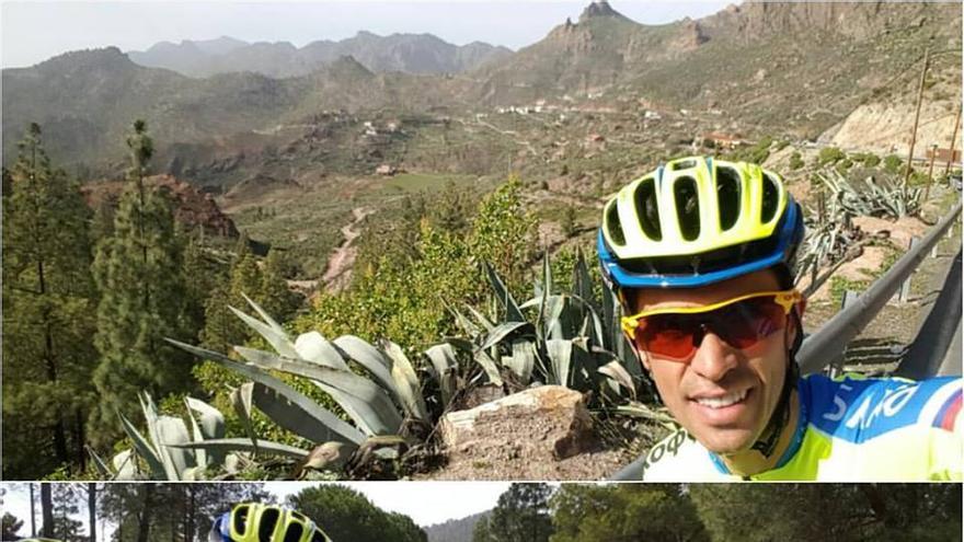 Montaje de fotografías donde se ve a Alberto Contador y a su equipo, el Tinkoff-Saxo, entrenando por la Cumbre de Gran Canaria.