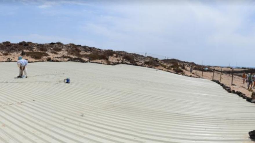 Trabajos en el yacimiento de la isla de Lobos