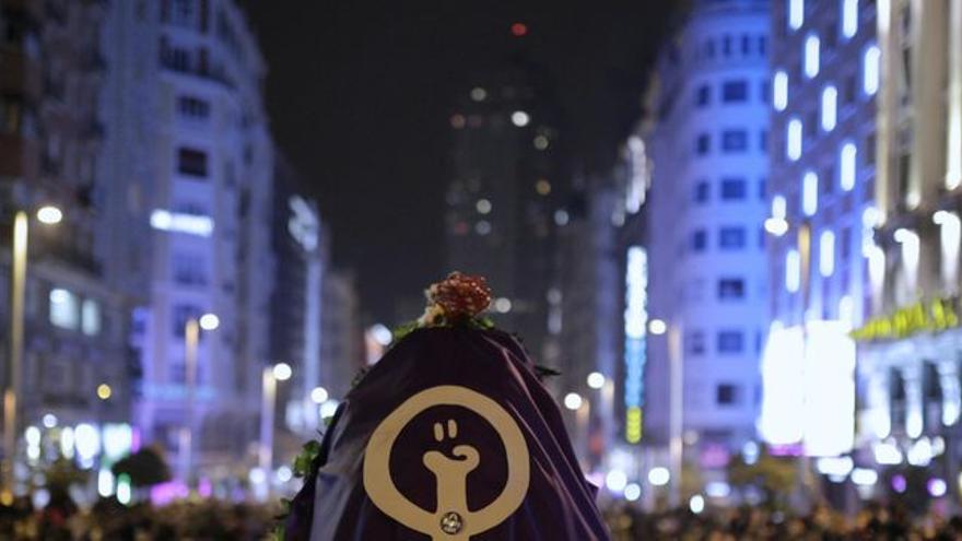 La manifestación del 8M llena la Gran Vía de Madrid de feminismo