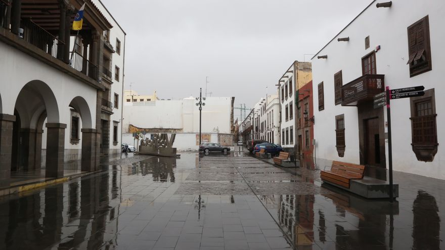 Lluvia en el barrio de Vegueta