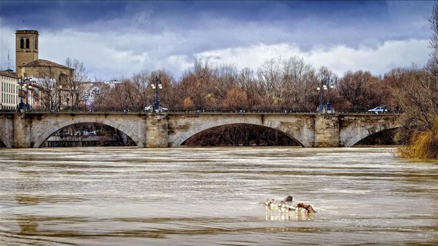 El Ebro, en alerta en Zaragoza, tras anegar 1.300 hectáreas en la ribera alta