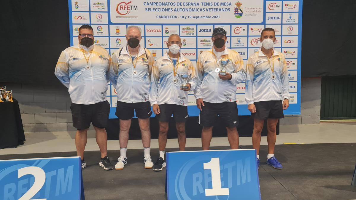 Expedición canaria desplazada a Castilla León con sus trofeos.