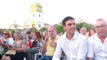 Pedro Sánchez, durante el cierre de campaña en Sevilla