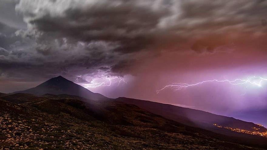 Rayos caídos en la madrugada del 16 de septiembre en Izaña, Tenerife
