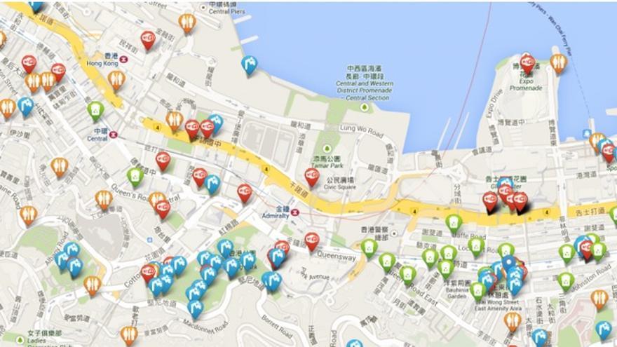 Todo está mapeado para que no te pierdas de ruta y puedas encontrar wifi y hasta papeleras de reciclaje