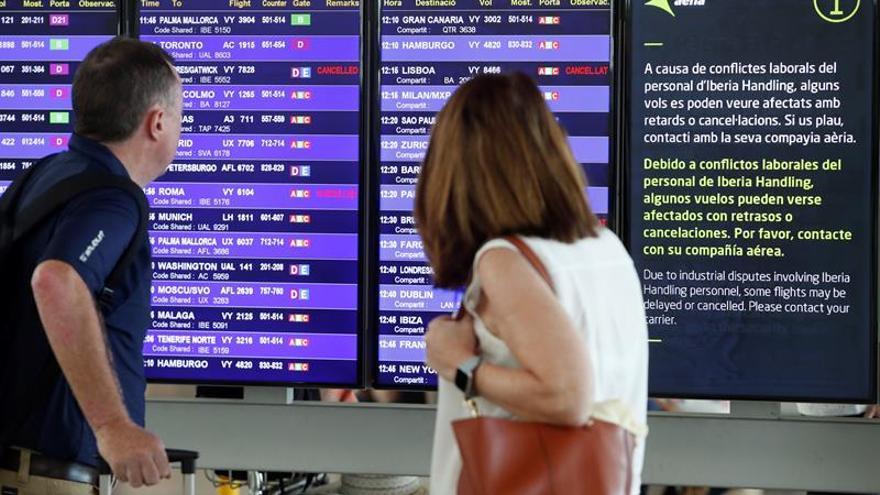 Vueling cancela 54 vuelos previstos para mañana por la huelga de Iberia
