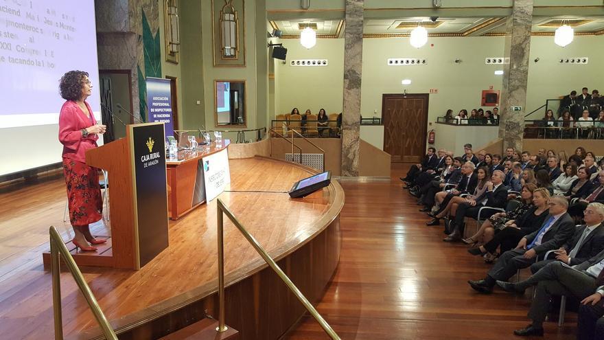 La ministra en funciones de Hacienda, María Jesús Montero, en su intervención en Zaragoza en el XXIX Congreso de Inspectores de Hacienda del Estado (IHE).
