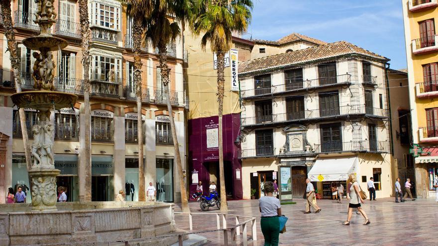 Plaza en el centro histórico de Málaga.