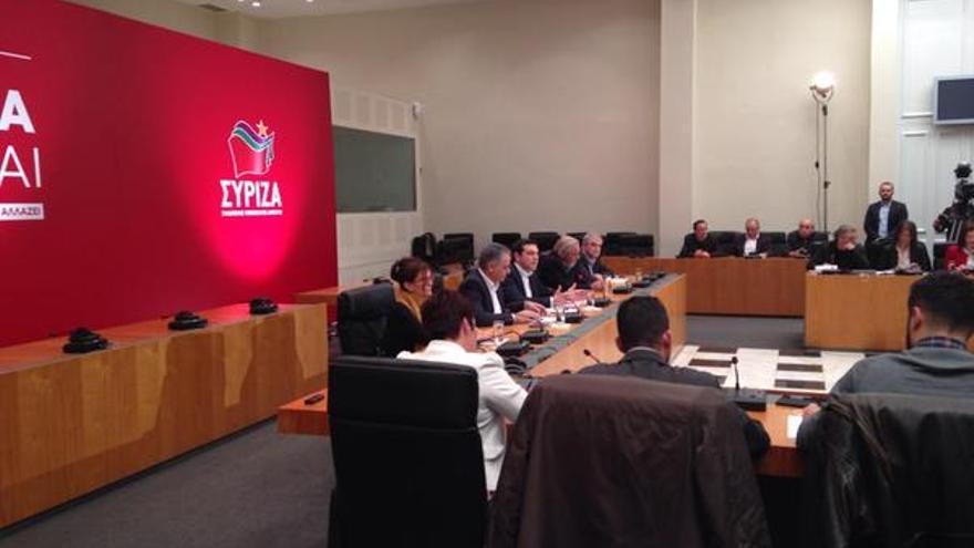 Miembros de Syriza en un acto en la campaña electoral del partido político. / Twitter Alexis Tsipras.