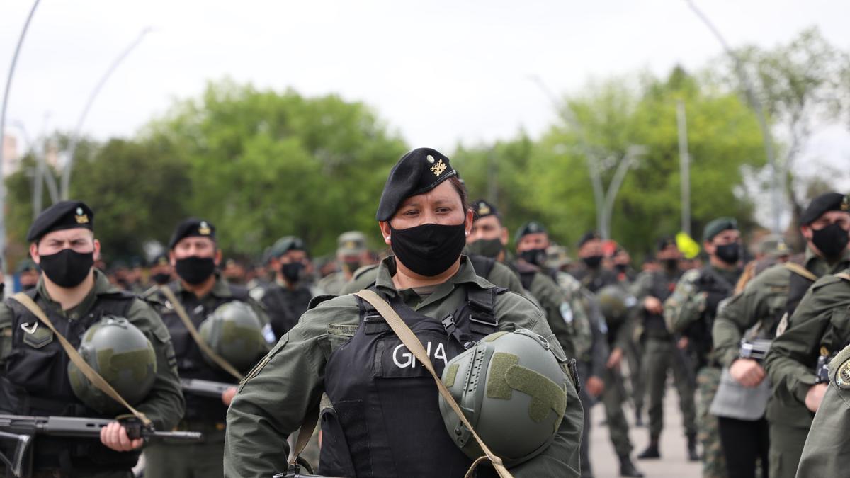 Los contingentes arribaron de Santiago del Estero, de Córdoba, Campo de Mayo y Ezeiza. /PRENSA MINISTERIO DE SEGURIDAD