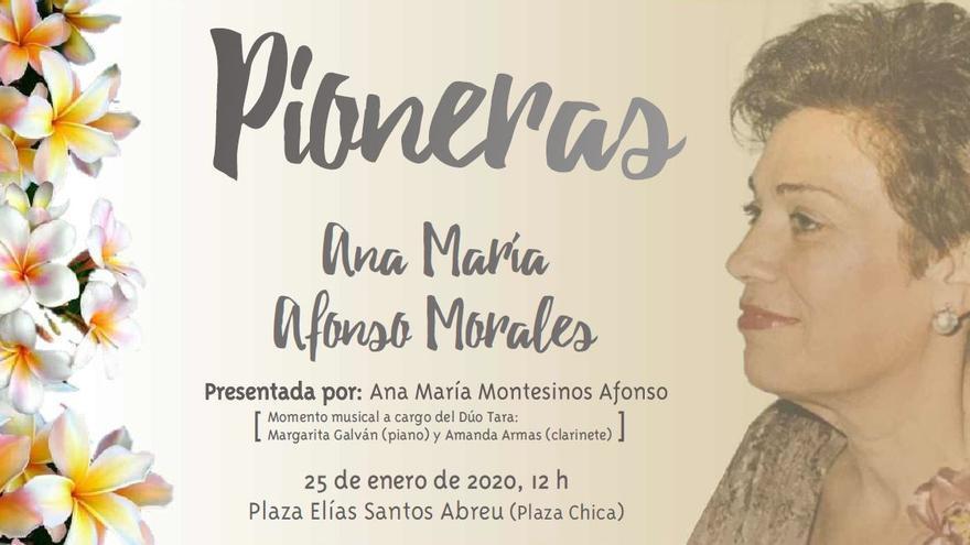 Cartel del homenaje a Ana María Afonso Morales en el ciclo mujeres 'Pioneras' de Los Llanos de Aridane.