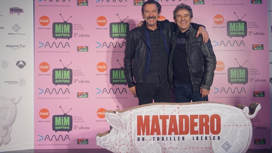 Ginés García Millán y Miguel de Lira en la presentación de 'Matadero'