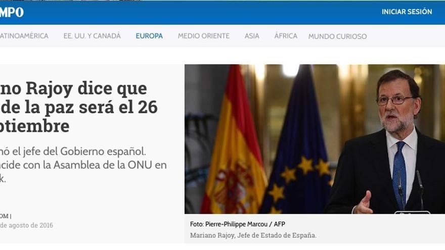 Noticia de 'El Tiempo', periódico colombiano