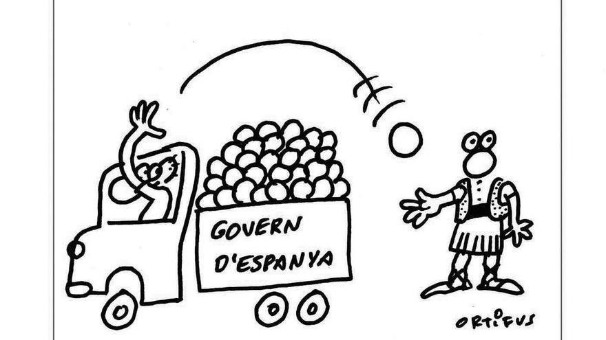 """Un dels dibuixos d'Ortifus que il·lustren """"El finançament valencià. De la submissió al canvi necessari"""" / @ortifus"""