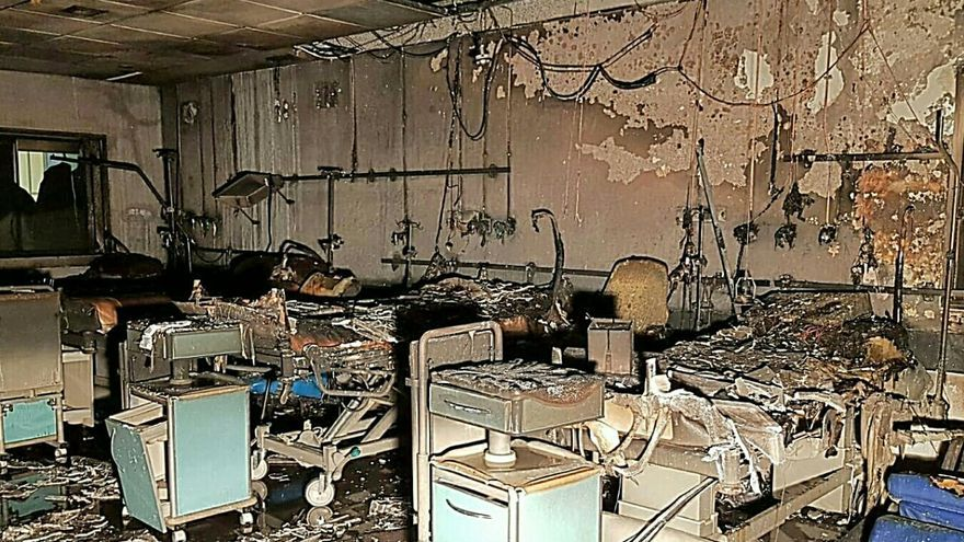 El incendio devastó varias salas de la torre norte del Hospital de La Candelaria.
