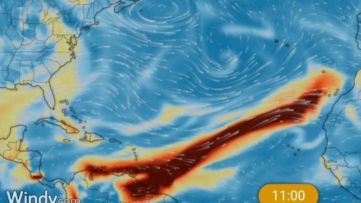 Nube de dióxido de azufre provocada por una erupción volcánica en el Caribe