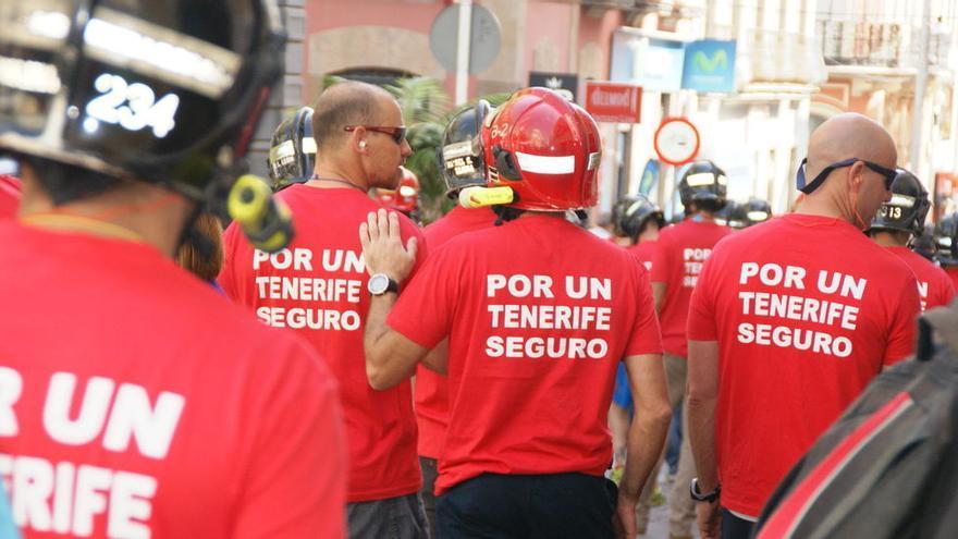 Protesta reciente de los bomberos en Santa Cruz