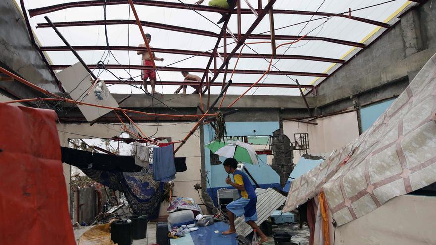 El estado en el que han quedado algunas viviendas debido a Haiyan