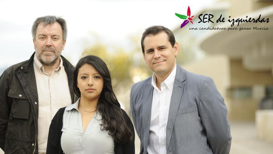 Nacho Tornel, Margarita Guerrero y el candidato a las primarias de IU en el municipio de Murcia, Sergio Ramos
