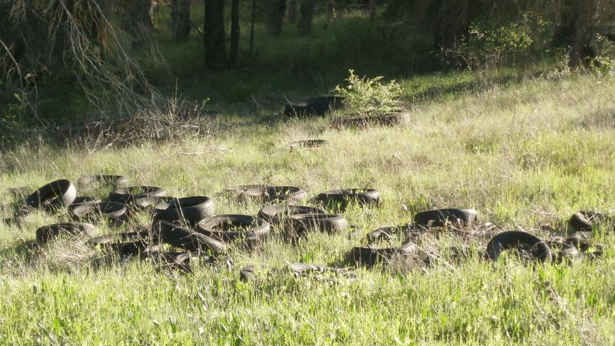 Neumáticos abandonados en el término de Chillarón (Cuenca) / Ecologistas en Acción