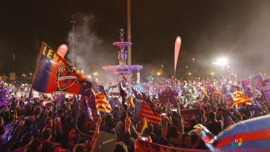 Un momento de la celebración tras el partido del pasado sábado