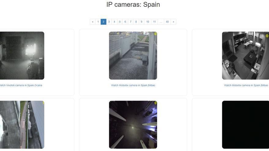Imagen de algunas de las señales de cámaras de vigilancia españolas que reproduce Insecam.