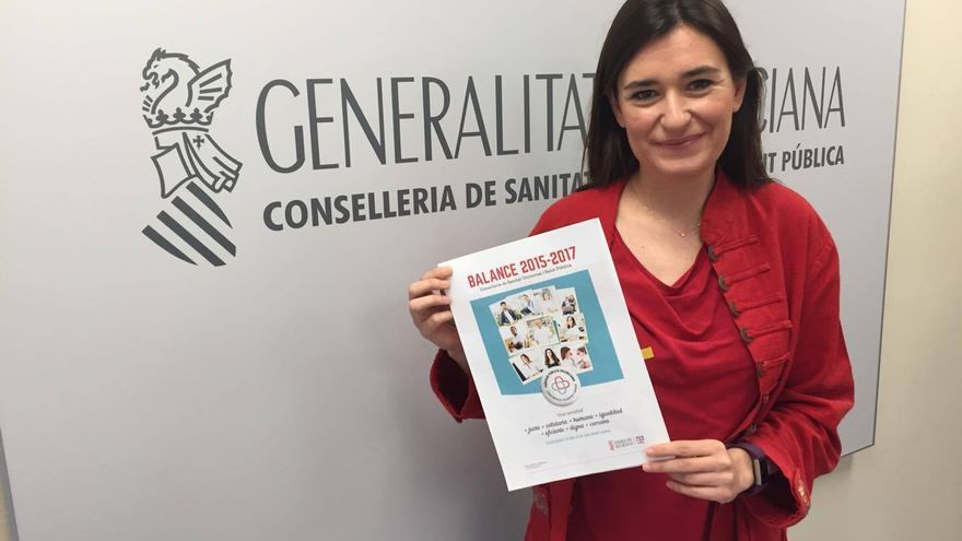 La consellera de Sanidad, Carmen Montón, muestra el balance de los dos años de legislatura