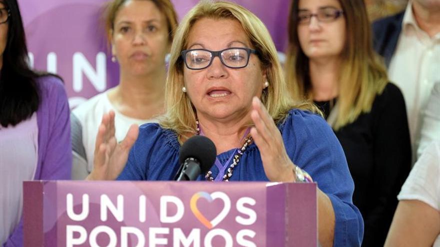 La candidata de Unidos Podemos al Congreso por Las Palmas, Meri Pita, valora en rueda de prensa los resultados obtenidos en los comicios generales.