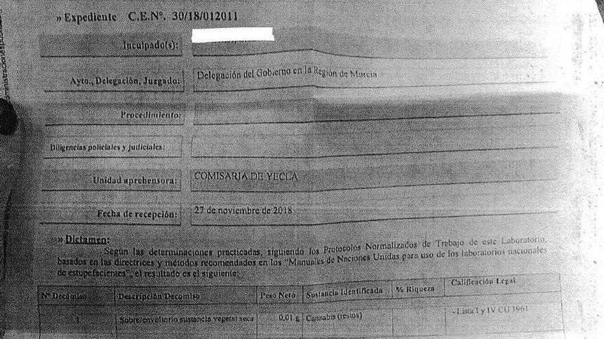 Análisis de 0,01 gramos de cannabis intervenido en Yecla.