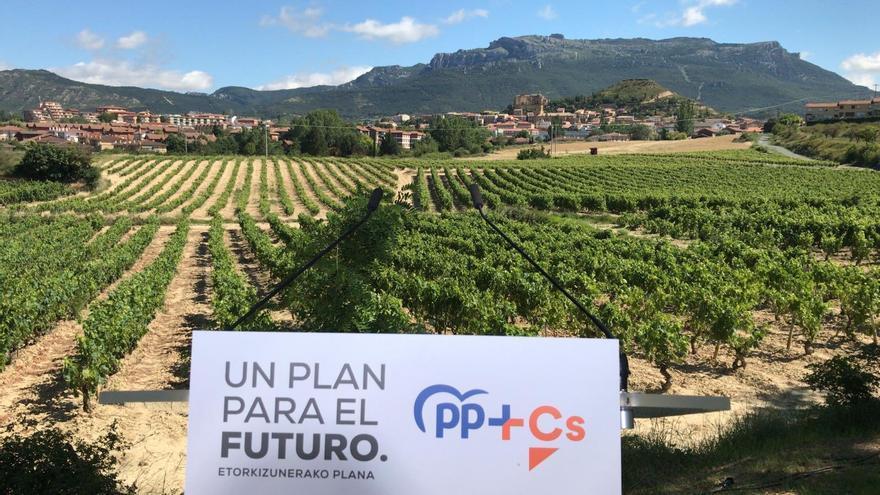 Montaje del acto de PP+Cs con la localidad de Labastida de fondo y sus viñas en primer plano