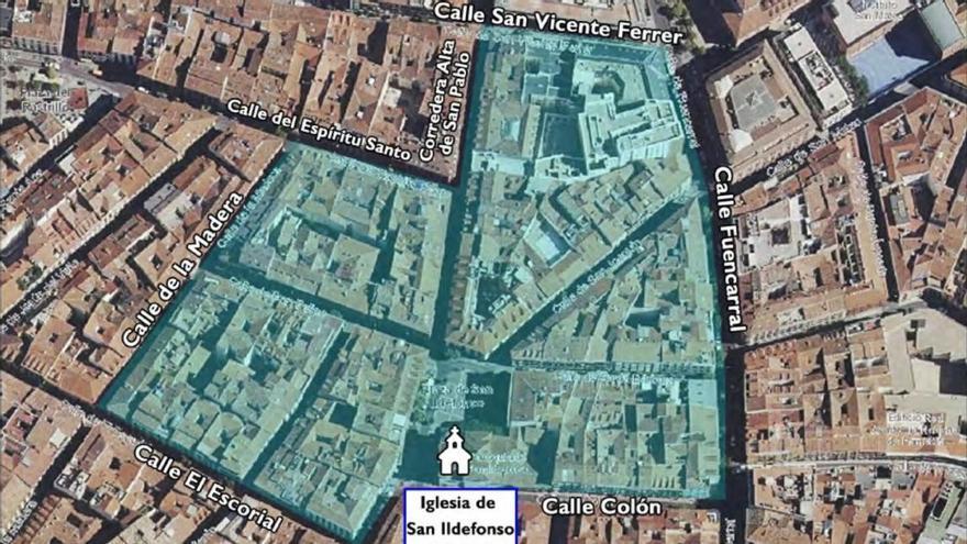 Zonas peatonalizadas en el entorno de San Ildefonso durante la Semana Santa