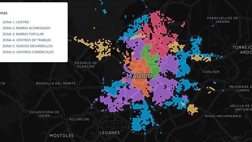 Madrid y sus zonas definidas por su actividad, según 'Urban Discovery'.