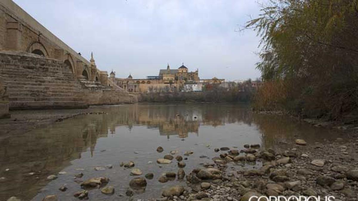 La Mezquita, al fondo, se refleja sobre el escaso cauce del Guadalquivir.