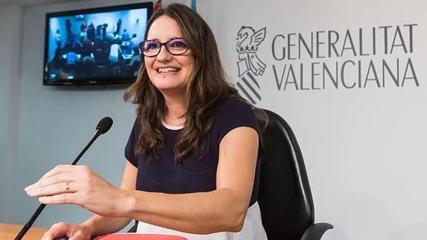 Mónica Oltra, en una rueda de prensa.