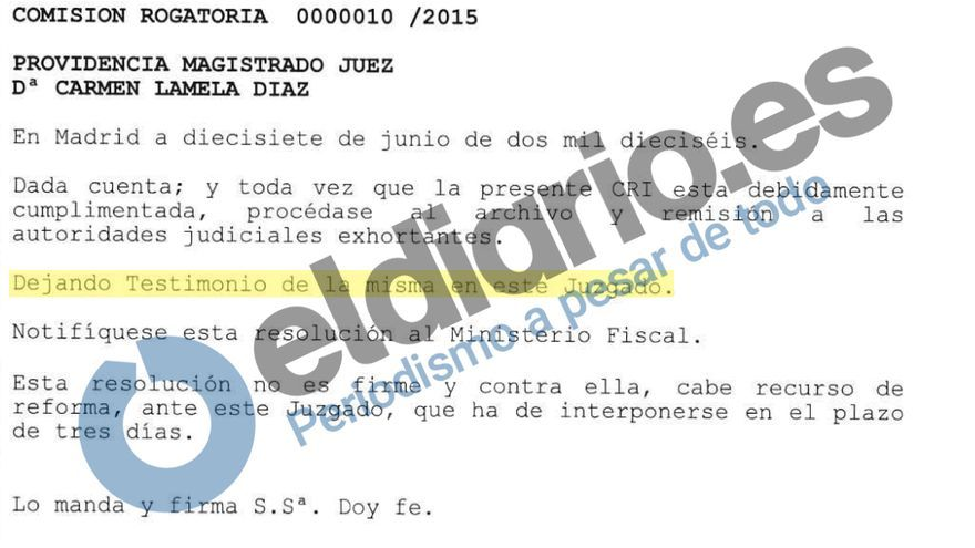 Providencia de la jueza Carmen Lamela.