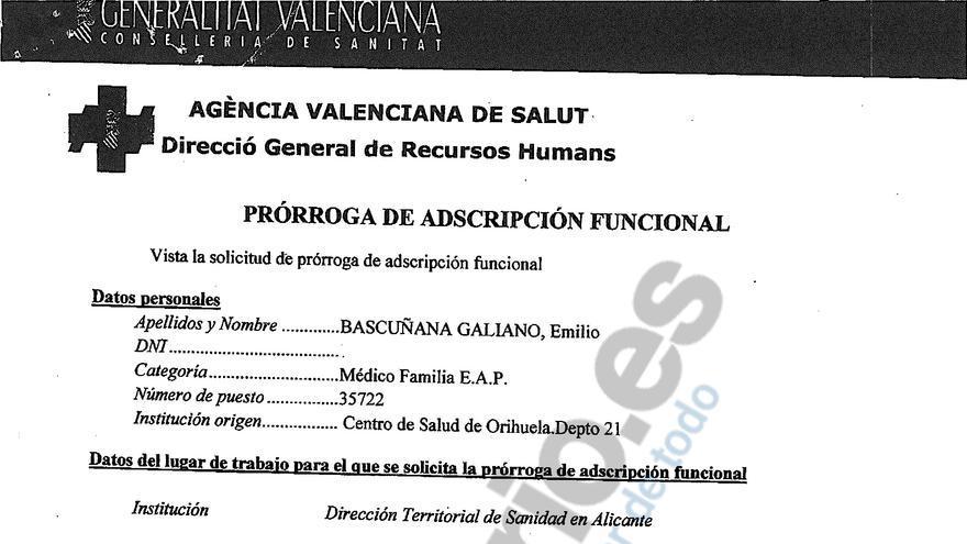 """Prórroga del segundo año de la """"adscripción funcional"""" de Bascuñana en la Dirección Territorial de Sanidad en Alicante que oculta en su currículum."""